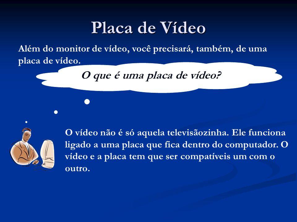 Placa de Vídeo Além do monitor de vídeo, você precisará, também, de uma placa de vídeo. O que é uma placa de vídeo? O vídeo não é só aquela televisãoz
