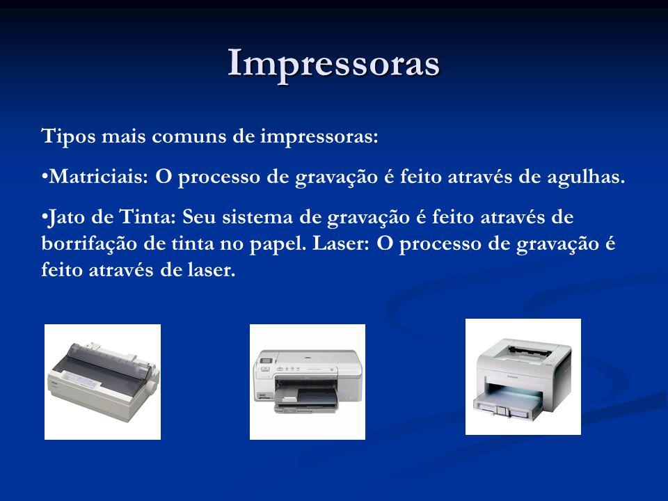 Tipos mais comuns de impressoras: Matriciais: O processo de gravação é feito através de agulhas. Jato de Tinta: Seu sistema de gravação é feito atravé