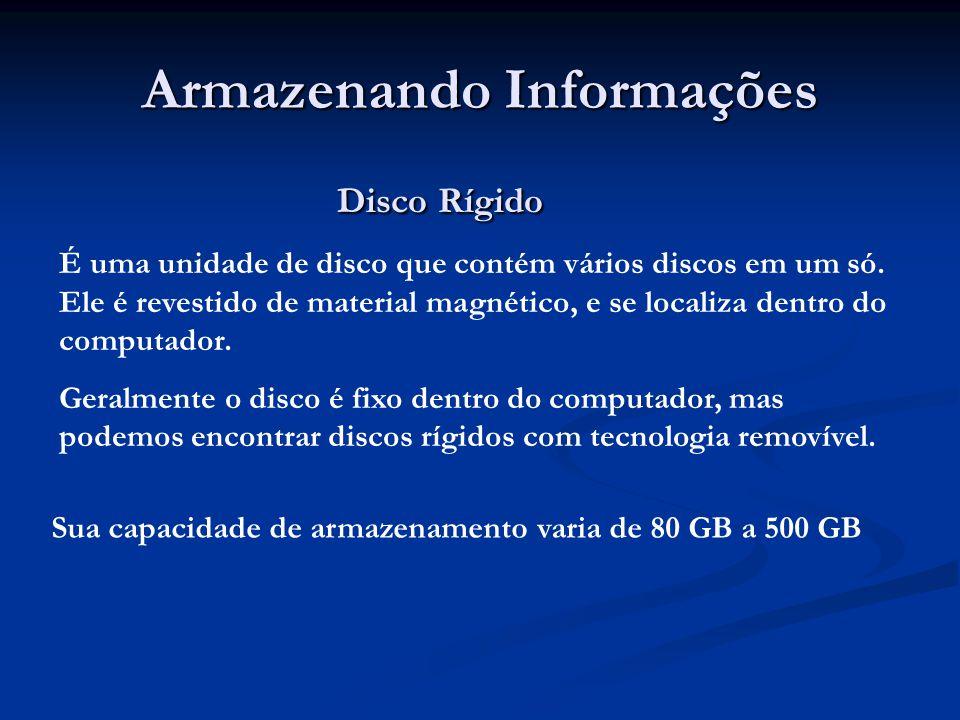 Armazenando Informações Disco Rígido Disco Rígido É uma unidade de disco que contém vários discos em um só. Ele é revestido de material magnético, e s