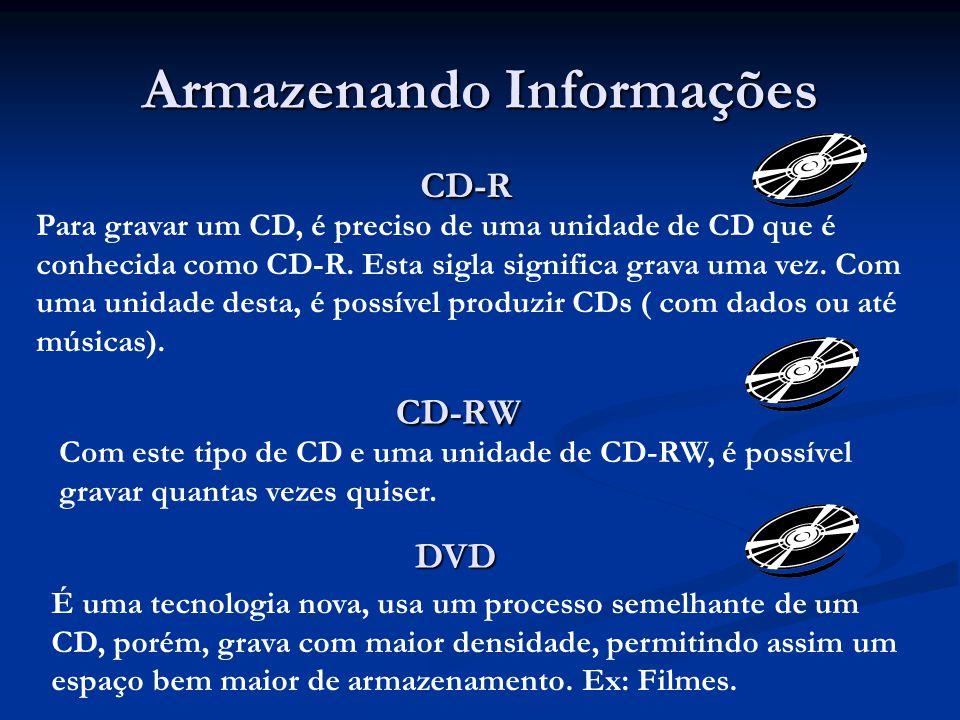 Armazenando Informações CD-R CD-R Para gravar um CD, é preciso de uma unidade de CD que é conhecida como CD-R. Esta sigla significa grava uma vez. Com