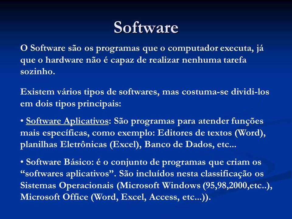Software O Software são os programas que o computador executa, já que o hardware não é capaz de realizar nenhuma tarefa sozinho. Existem vários tipos