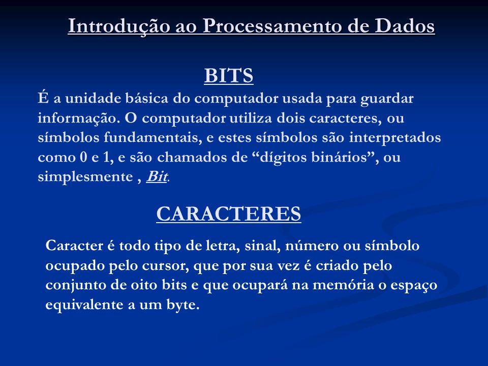 BITS É a unidade básica do computador usada para guardar informação. O computador utiliza dois caracteres, ou símbolos fundamentais, e estes símbolos