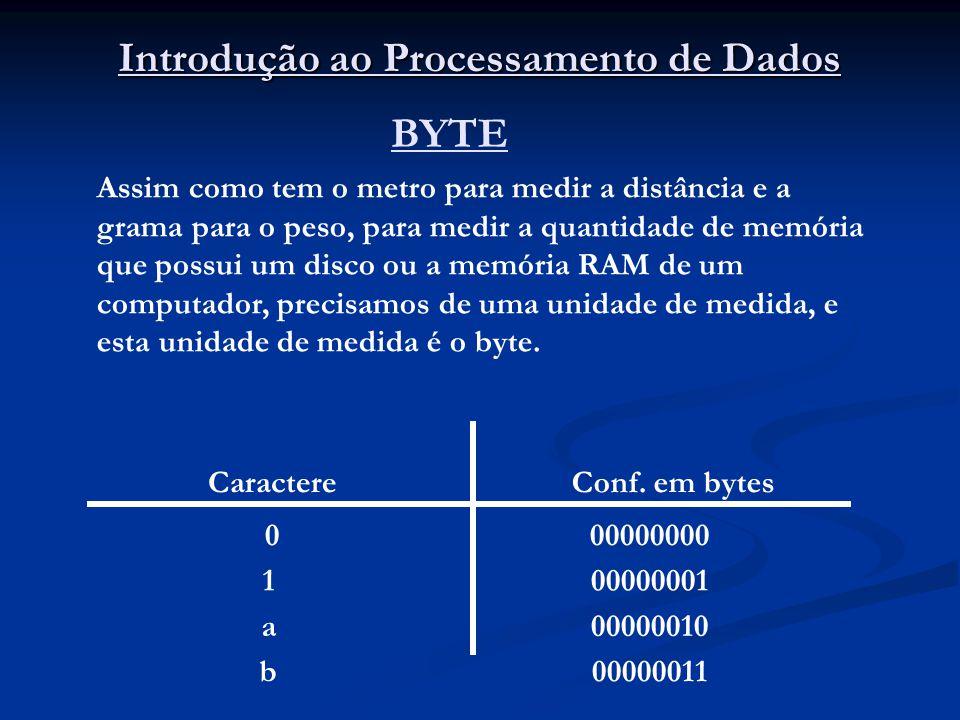Introdução ao Processamento de Dados BYTE Assim como tem o metro para medir a distância e a grama para o peso, para medir a quantidade de memória que