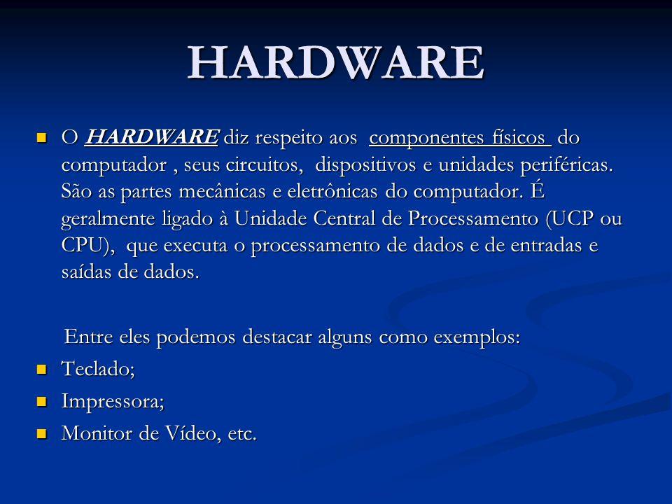 HARDWARE O HARDWARE diz respeito aos componentes físicos do computador, seus circuitos, dispositivos e unidades periféricas. São as partes mecânicas e