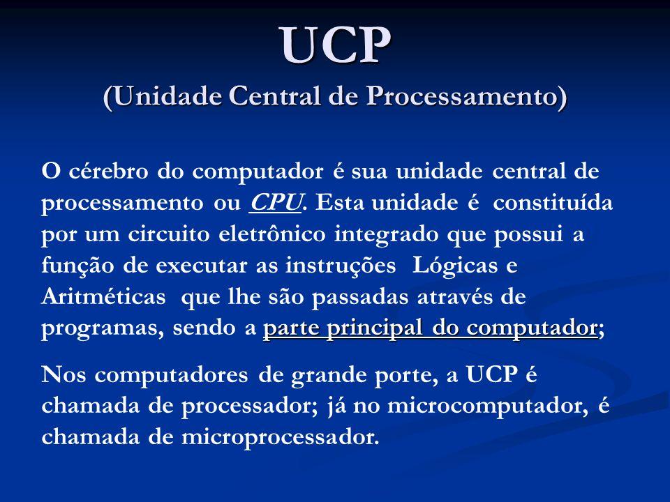 UCP (Unidade Central de Processamento) parte principal do computador O cérebro do computador é sua unidade central de processamento ou CPU. Esta unida