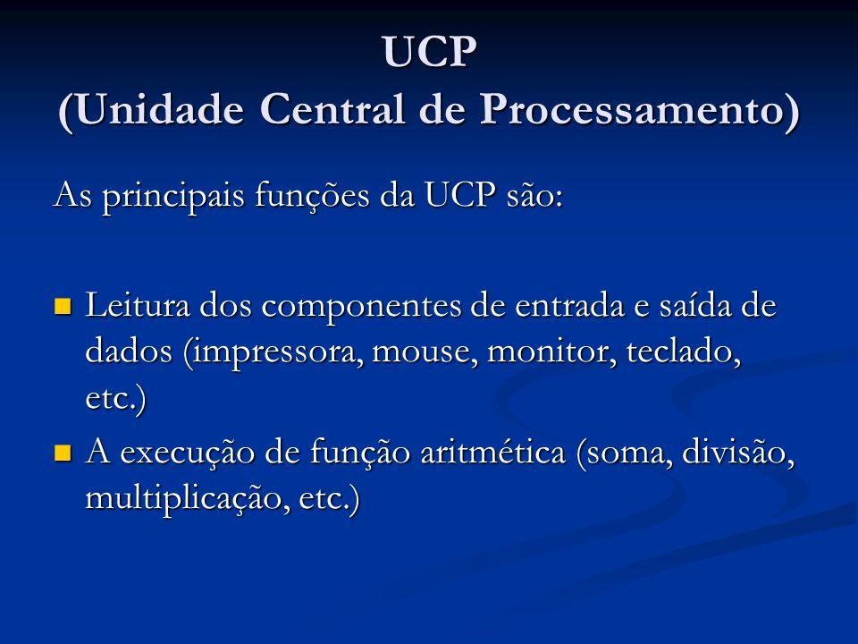 As principais funções da UCP são: Leitura dos componentes de entrada e saída de dados (impressora, mouse, monitor, teclado, etc.) Leitura dos componen