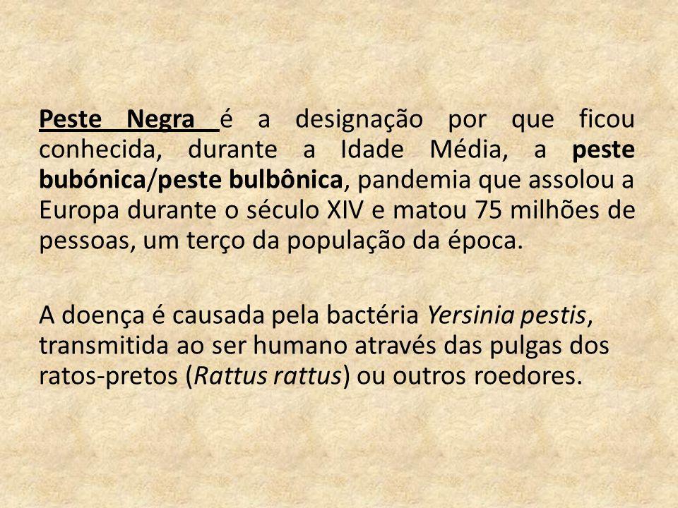 Peste Negra é a designação por que ficou conhecida, durante a Idade Média, a peste bubónica/peste bulbônica, pandemia que assolou a Europa durante o s