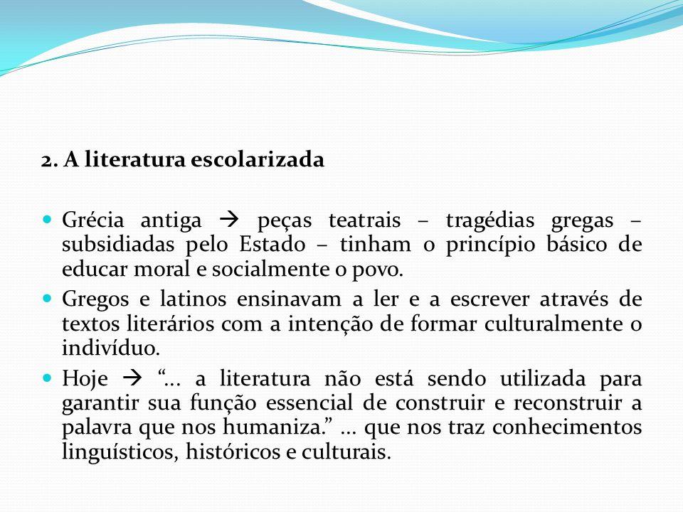 Hoje  ocorrem situações que levam à falência do ensino da literatura: para alguns a literatura só se mantém na escola por força da tradição e da inércia curricular: a educação literária é um produto do séc.