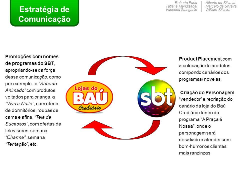 Roberto Faria Tatiana Mendizabal Vanessa Stangarlin Alberto da Silva Jr Marcelo da Silveira William Silveira Estratégia de Comunicação Product Placeme