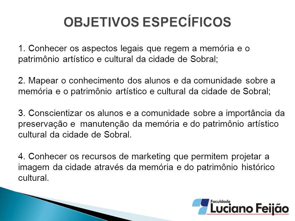 1. Conhecer os aspectos legais que regem a memória e o patrimônio artístico e cultural da cidade de Sobral; 2. Mapear o conhecimento dos alunos e da c
