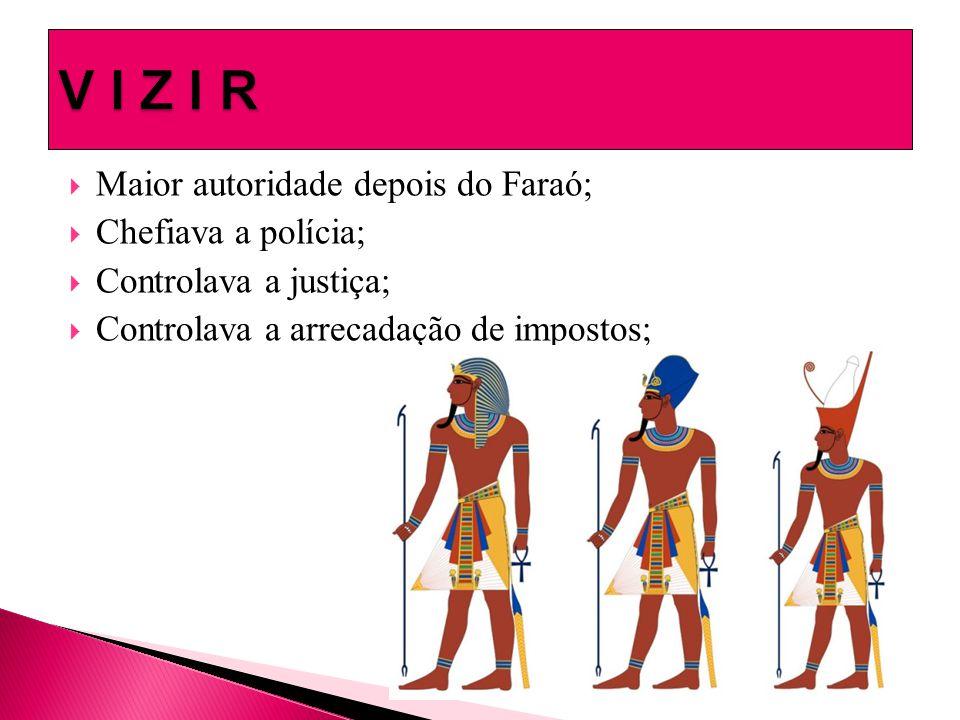  Maior autoridade depois do Faraó;  Chefiava a polícia;  Controlava a justiça;  Controlava a arrecadação de impostos;