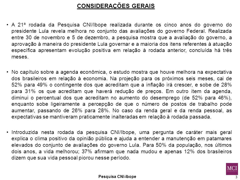3 Pesquisa CNI-Ibope CONSIDERAÇÕES GERAIS A 21ª rodada da Pesquisa CNI/Ibope realizada durante os cinco anos do governo do presidente Lula revela melhora no conjunto das avaliações do governo Federal.