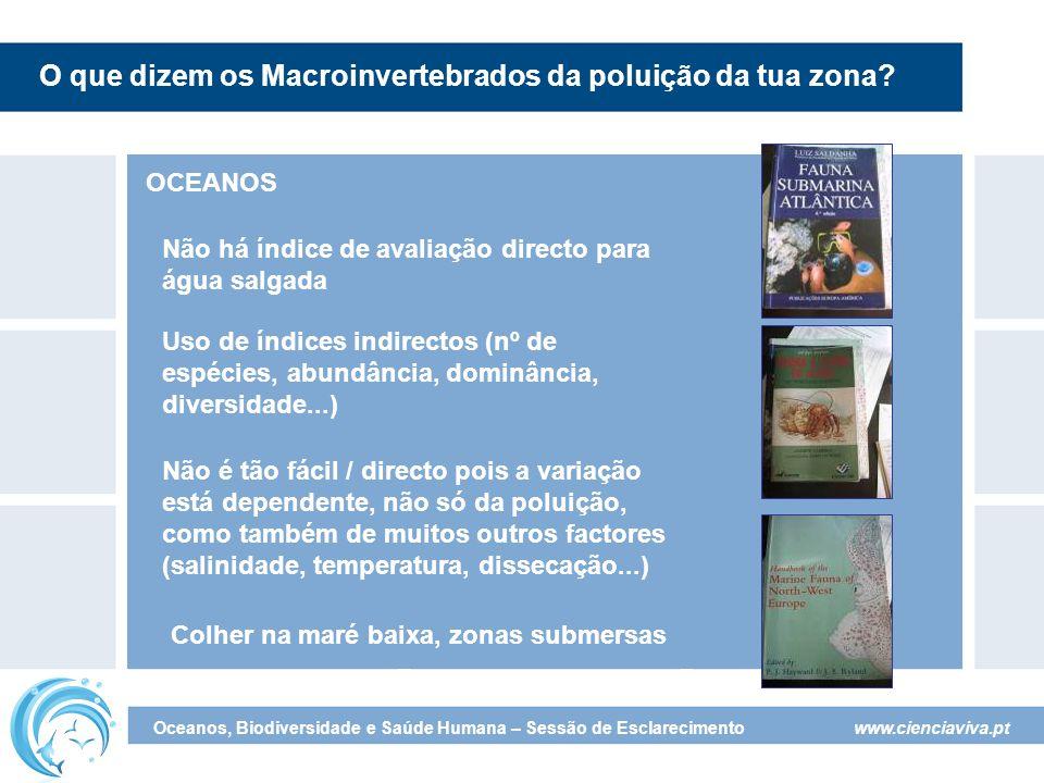www.cienciaviva.pt Oceanos, Biodiversidade e Saúde Humana – Sessão de Esclarecimento O que dizem os Macroinvertebrados da poluição da tua zona? OCEANO