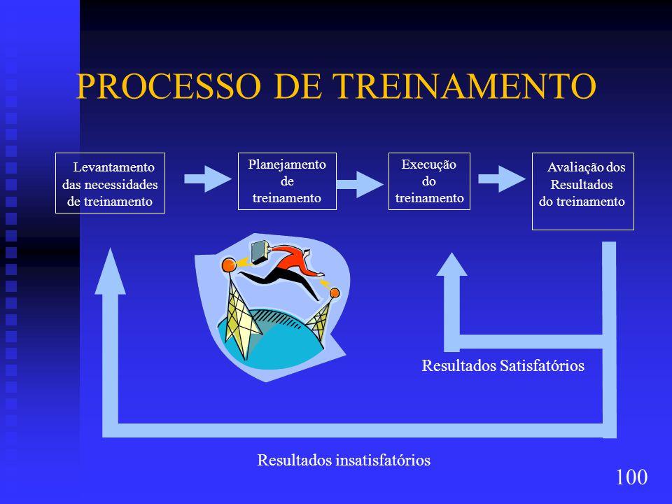 Resultados Satisfatórios PROCESSO DE TREINAMENTO Planejamento de treinamento Levantamento das necessidades de treinamento Execução do treinamento Avaliação dos Resultados do treinamento Resultados insatisfatórios 100
