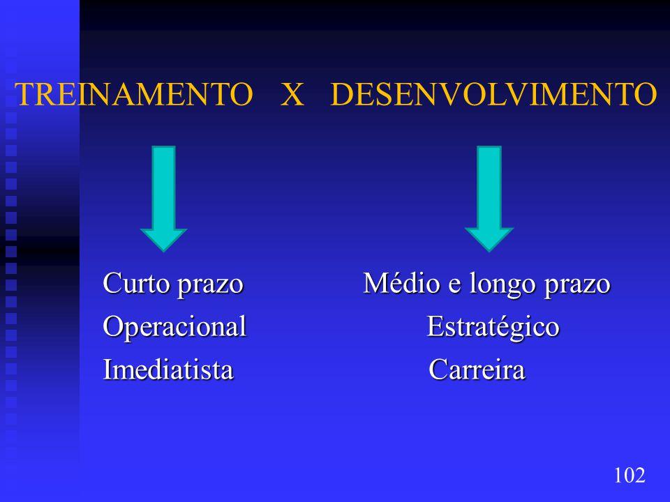 TREINAMENTO X DESENVOLVIMENTO Curto prazo Médio e longo prazo Curto prazo Médio e longo prazo Operacional Estratégico Operacional Estratégico Imediatista Carreira Imediatista Carreira 102