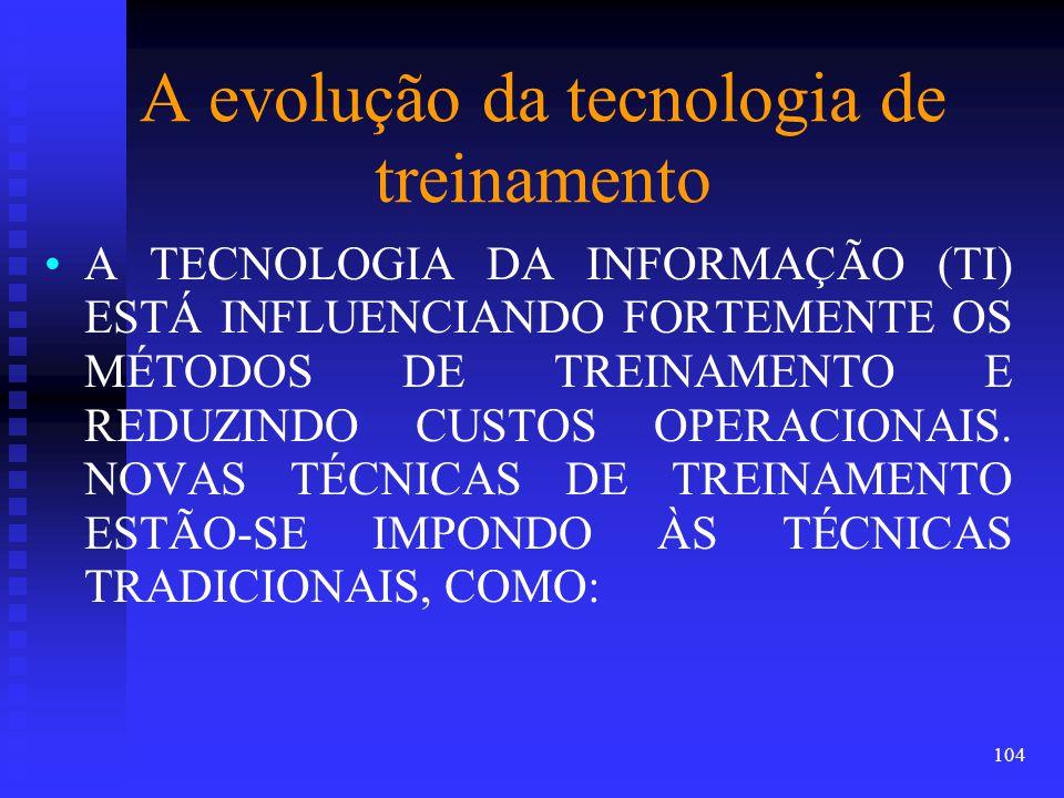 A evolução da tecnologia de treinamento A TECNOLOGIA DA INFORMAÇÃO (TI) ESTÁ INFLUENCIANDO FORTEMENTE OS MÉTODOS DE TREINAMENTO E REDUZINDO CUSTOS OPERACIONAIS.