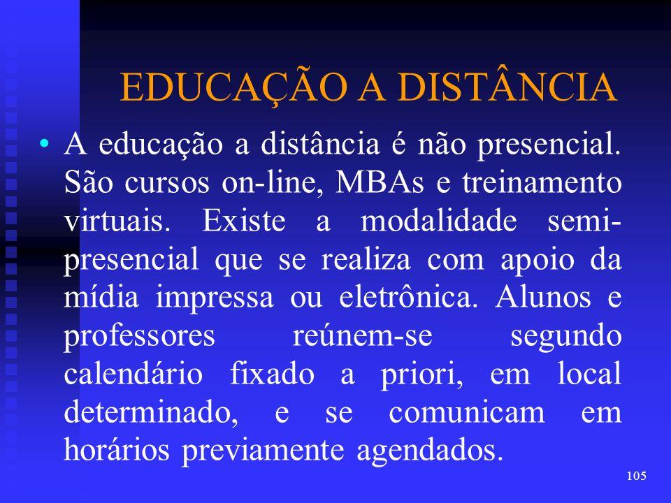 EDUCAÇÃO A DISTÂNCIA A educação a distância é não presencial.
