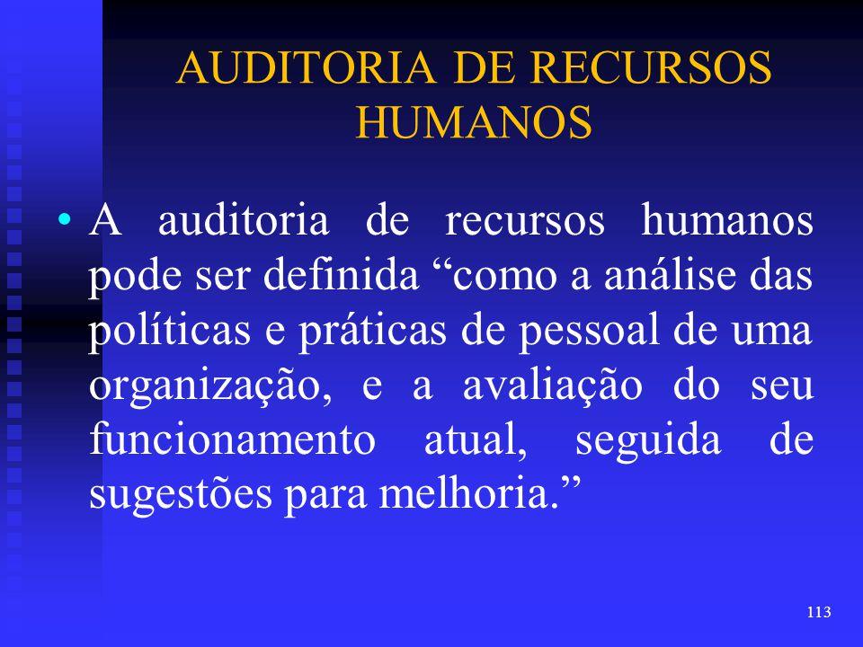 AUDITORIA DE RECURSOS HUMANOS A auditoria de recursos humanos pode ser definida como a análise das políticas e práticas de pessoal de uma organização, e a avaliação do seu funcionamento atual, seguida de sugestões para melhoria. 113
