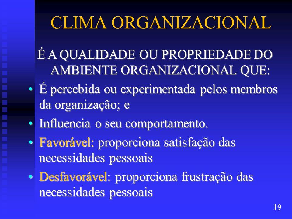CLIMA ORGANIZACIONAL É A QUALIDADE OU PROPRIEDADE DO AMBIENTE ORGANIZACIONAL QUE: É percebida ou experimentada pelos membros da organização; eÉ percebida ou experimentada pelos membros da organização; e Influencia o seu comportamento.Influencia o seu comportamento.