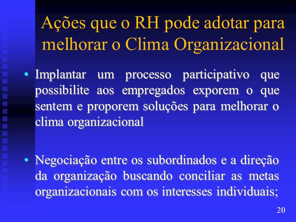 Ações que o RH pode adotar para melhorar o Clima Organizacional Implantar um processo participativo que possibilite aos empregados exporem o que sentem e proporem soluções para melhorar o clima organizacionalImplantar um processo participativo que possibilite aos empregados exporem o que sentem e proporem soluções para melhorar o clima organizacional Negociação entre os subordinados e a direção da organização buscando conciliar as metas organizacionais com os interesses individuais;Negociação entre os subordinados e a direção da organização buscando conciliar as metas organizacionais com os interesses individuais; 20