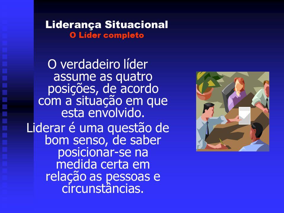 Liderança Situacional O Líder completo O verdadeiro líder assume as quatro posições, de acordo com a situação em que esta envolvido.