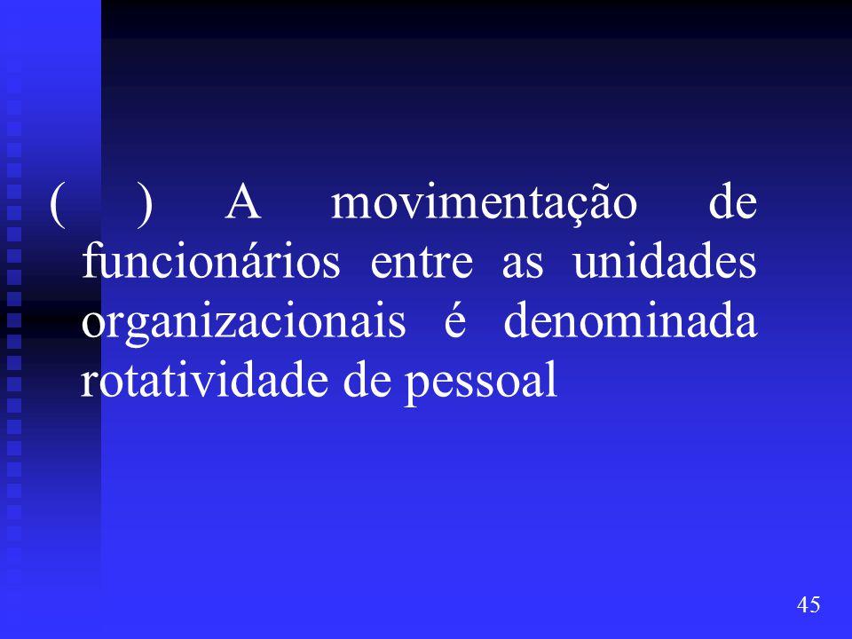 45 ( ) A movimentação de funcionários entre as unidades organizacionais é denominada rotatividade de pessoal