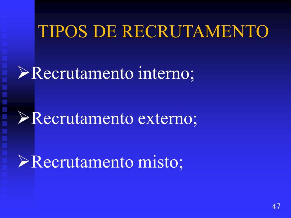  Recrutamento interno;  Recrutamento externo;  Recrutamento misto; TIPOS DE RECRUTAMENTO 47