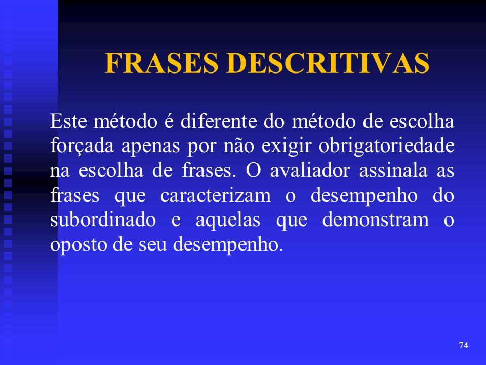 FRASES DESCRITIVAS Este método é diferente do método de escolha forçada apenas por não exigir obrigatoriedade na escolha de frases.