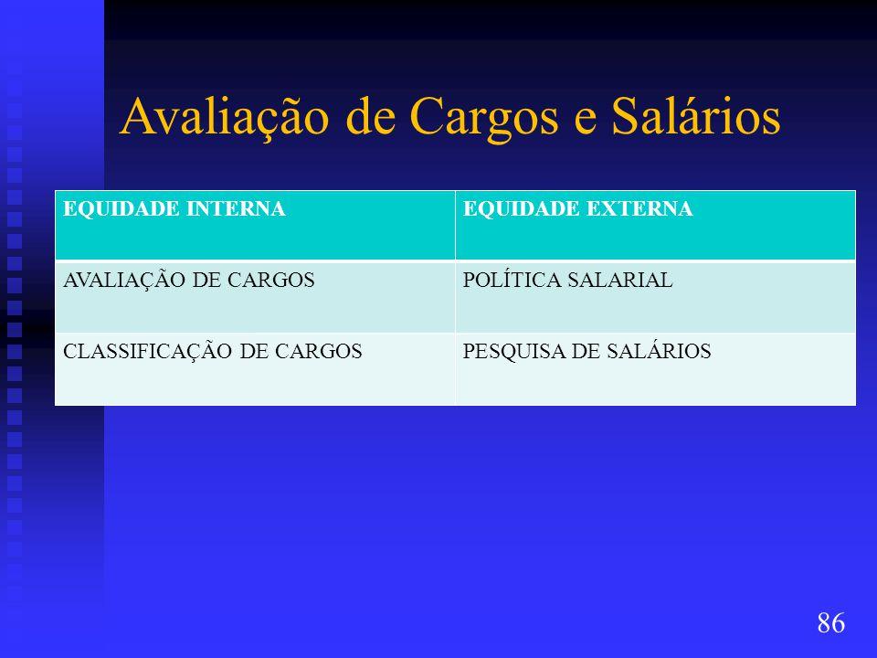 Avaliação de Cargos e Salários EQUIDADE INTERNAEQUIDADE EXTERNA AVALIAÇÃO DE CARGOSPOLÍTICA SALARIAL CLASSIFICAÇÃO DE CARGOSPESQUISA DE SALÁRIOS 86