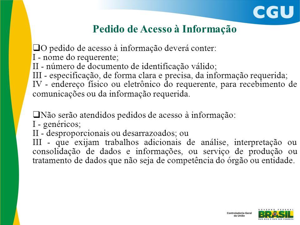 Pedido de Acesso à Informação  O pedido de acesso à informação deverá conter: I - nome do requerente; II - número de documento de identificação válid