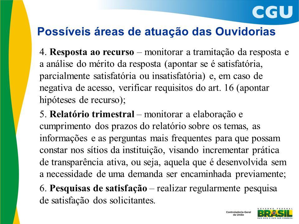 Possíveis áreas de atuação das Ouvidorias 4. Resposta ao recurso – monitorar a tramitação da resposta e a análise do mérito da resposta (apontar se é