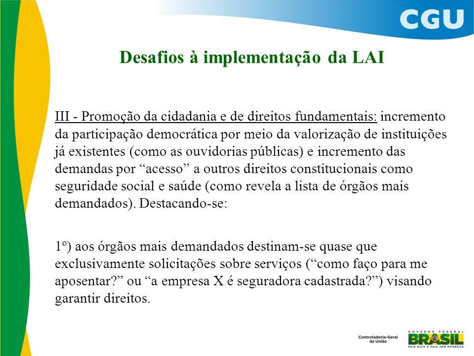 Desafios à implementação da LAI III - Promoção da cidadania e de direitos fundamentais: incremento da participação democrática por meio da valorização