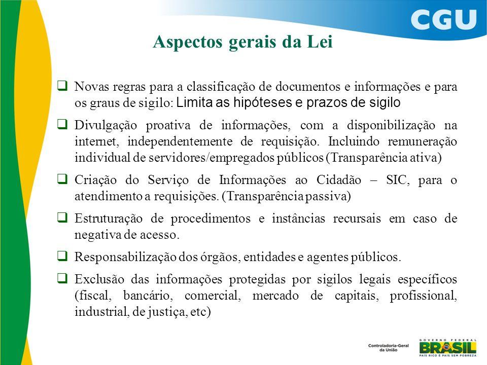  Novas regras para a classificação de documentos e informações e para os graus de sigilo: Limita as hipóteses e prazos de sigilo  Divulgação proativ