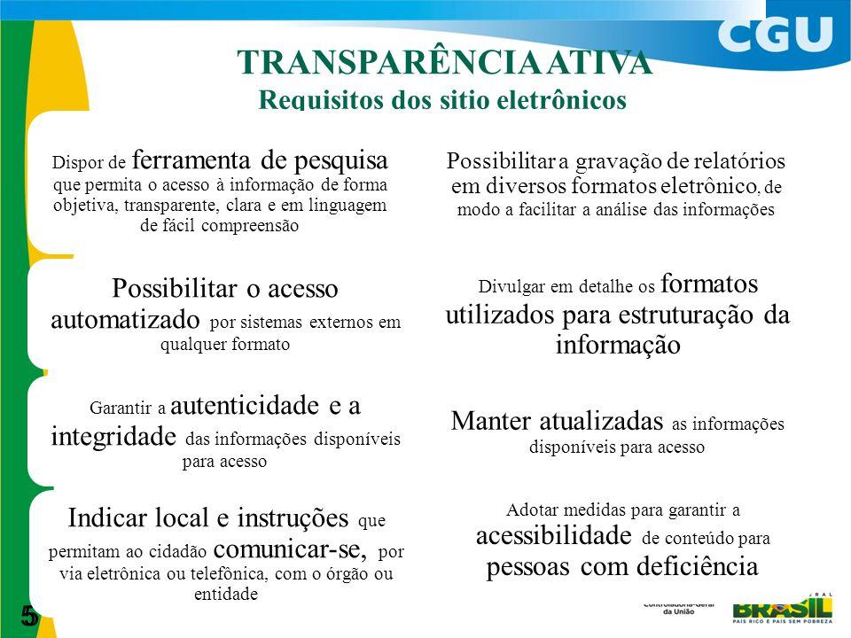 5 TRANSPARÊNCIA ATIVA 5 Requisitos dos sitio eletrônicos Dispor de ferramenta de pesquisa que permita o acesso à informação de forma objetiva, transpa