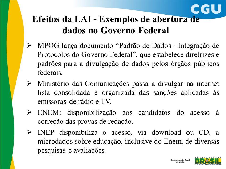 """Efeitos da LAI - Exemplos de abertura de dados no Governo Federal  MPOG lança documento """"Padrão de Dados - Integração de Protocolos do Governo Federa"""