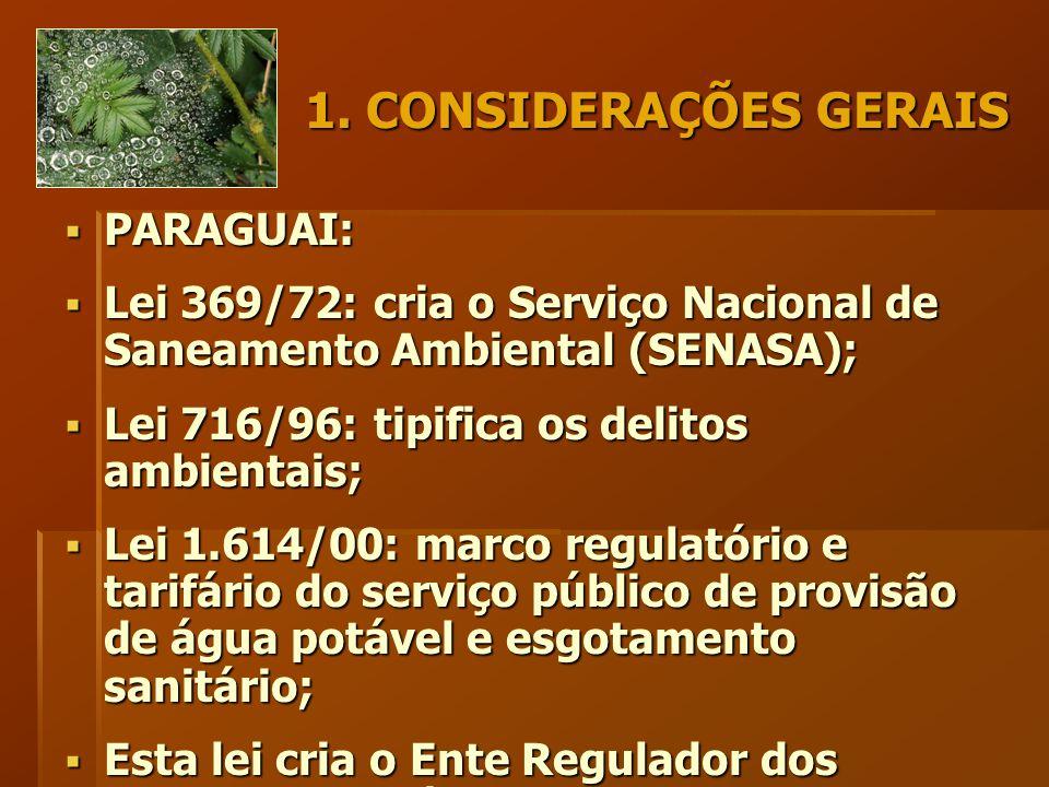 1. CONSIDERAÇÕES GERAIS  PARAGUAI:  Lei 369/72: cria o Serviço Nacional de Saneamento Ambiental (SENASA);  Lei 716/96: tipifica os delitos ambienta