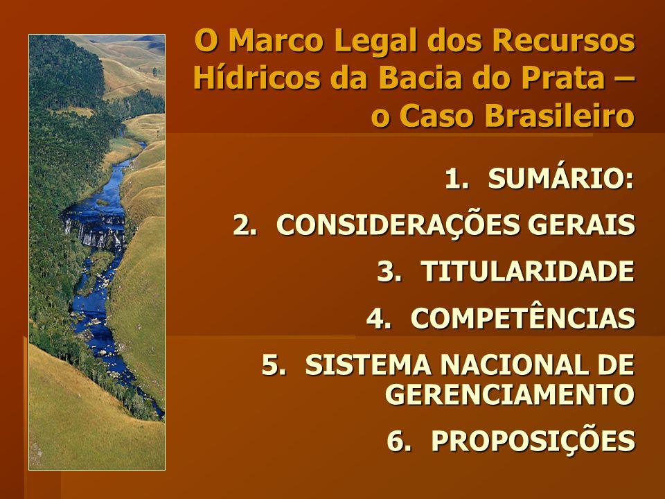 1.SUMÁRIO: 2.CONSIDERAÇÕES GERAIS 3.TITULARIDADE 4.COMPETÊNCIAS 5.SISTEMA NACIONAL DE GERENCIAMENTO 6.PROPOSIÇÕES O Marco Legal dos Recursos Hídricos da Bacia do Prata – o Caso Brasileiro
