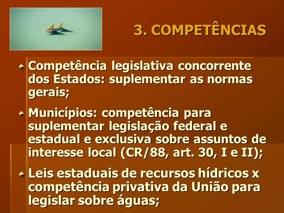 3. COMPETÊNCIAS Competência legislativa concorrente dos Estados: suplementar as normas gerais; Municípios: competência para suplementar legislação fed