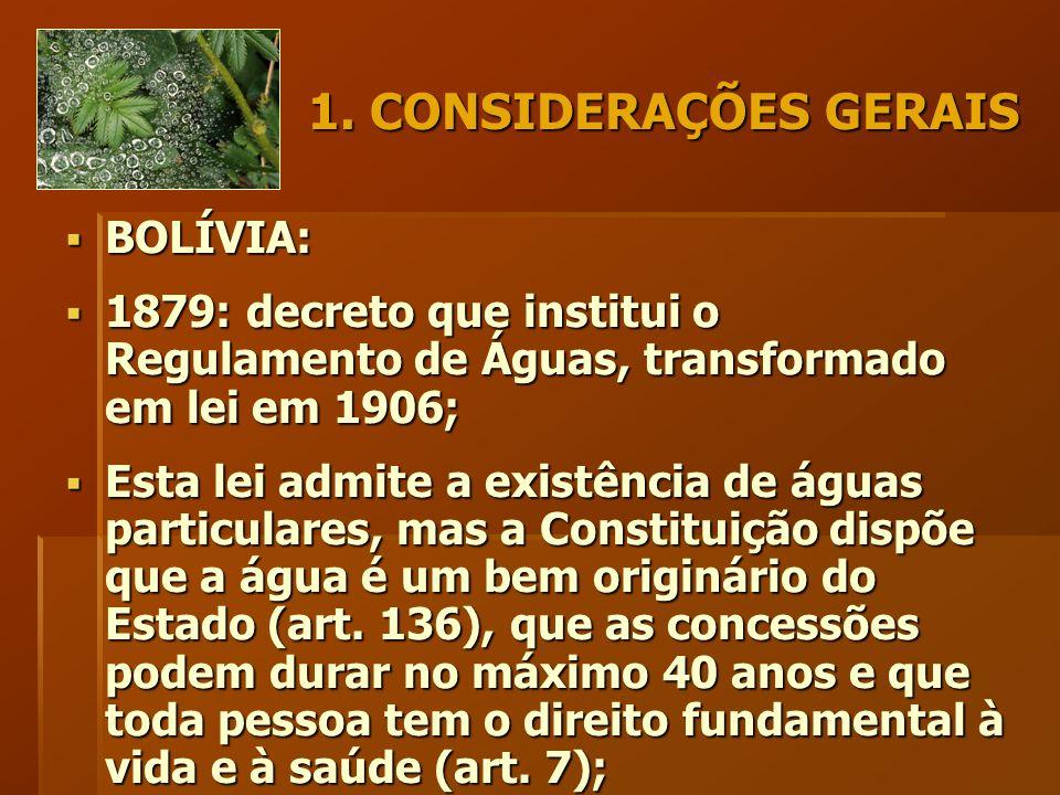 1. CONSIDERAÇÕES GERAIS  BOLÍVIA:  1879: decreto que institui o Regulamento de Águas, transformado em lei em 1906;  Esta lei admite a existência de