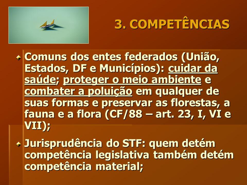 3. COMPETÊNCIAS Comuns dos entes federados (União, Estados, DF e Municípios): cuidar da saúde; proteger o meio ambiente e combater a poluição em qualq