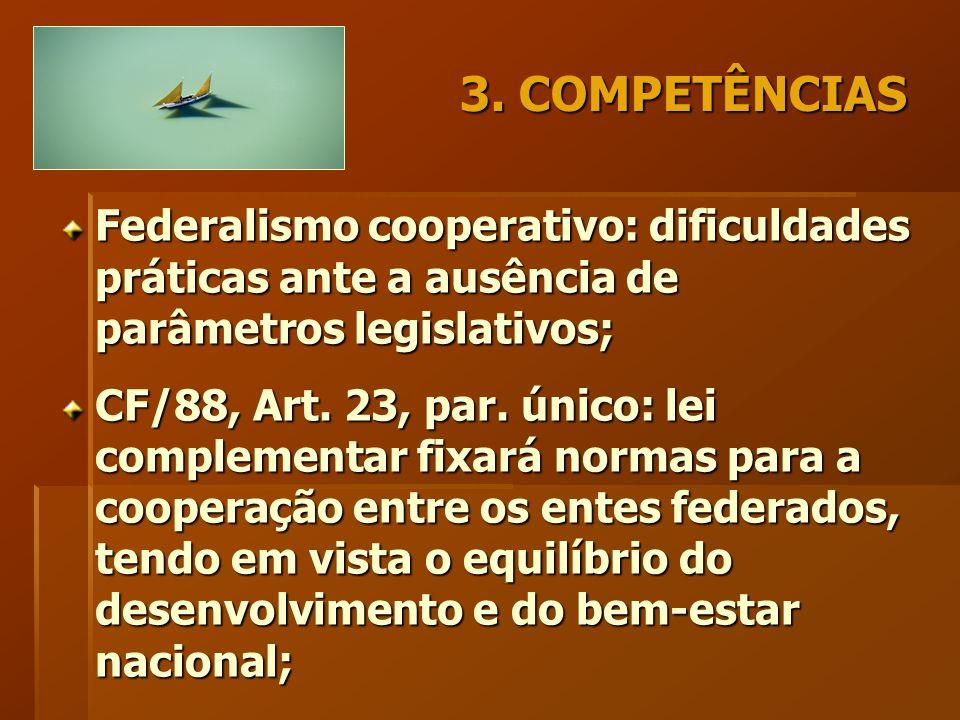 3. COMPETÊNCIAS Federalismo cooperativo: dificuldades práticas ante a ausência de parâmetros legislativos; CF/88, Art. 23, par. único: lei complementa