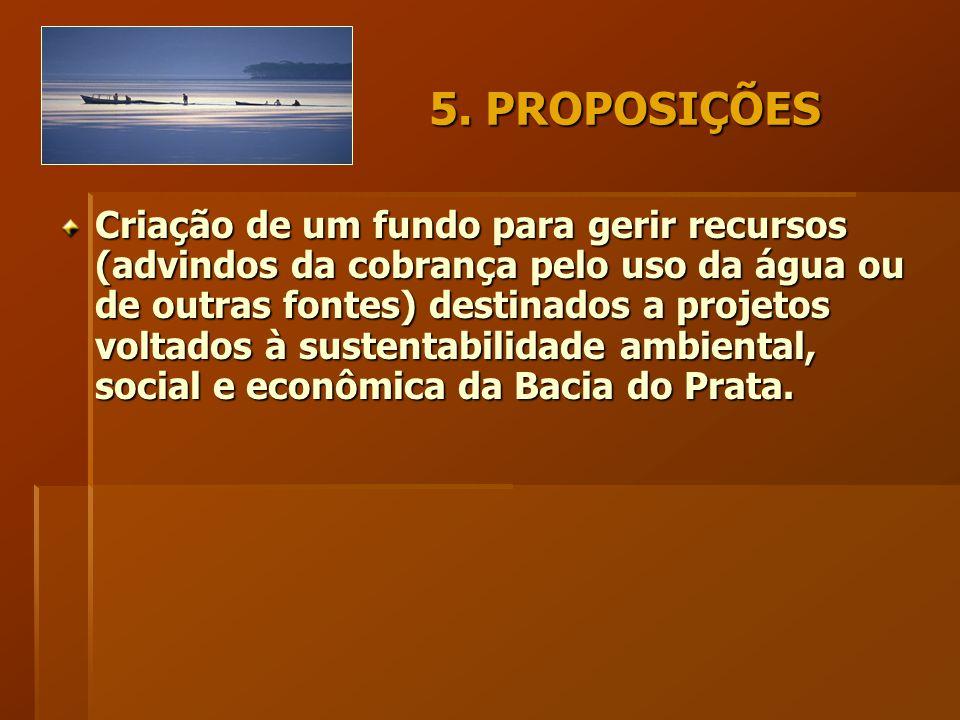 5. PROPOSIÇÕES Criação de um fundo para gerir recursos (advindos da cobrança pelo uso da água ou de outras fontes) destinados a projetos voltados à su