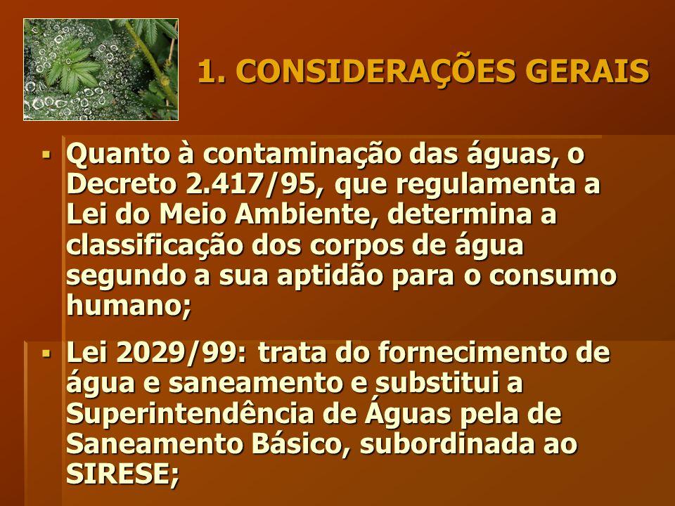1. CONSIDERAÇÕES GERAIS  Quanto à contaminação das águas, o Decreto 2.417/95, que regulamenta a Lei do Meio Ambiente, determina a classificação dos c