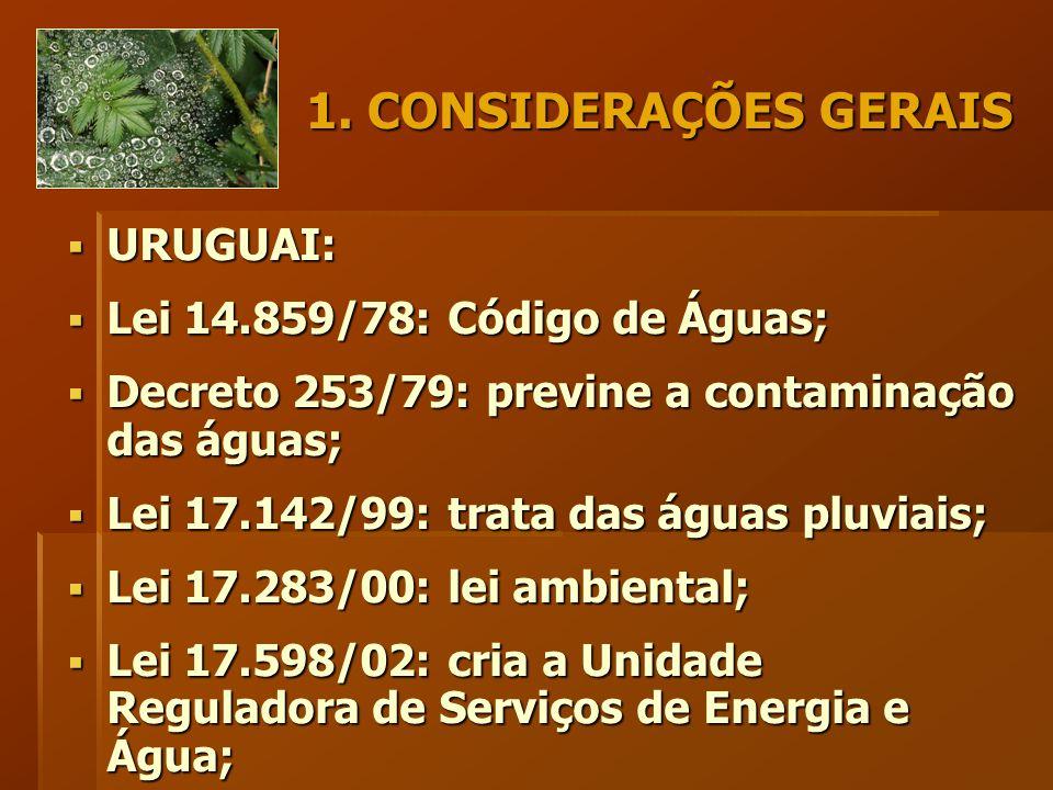 1. CONSIDERAÇÕES GERAIS  URUGUAI:  Lei 14.859/78: Código de Águas;  Decreto 253/79: previne a contaminação das águas;  Lei 17.142/99: trata das ág
