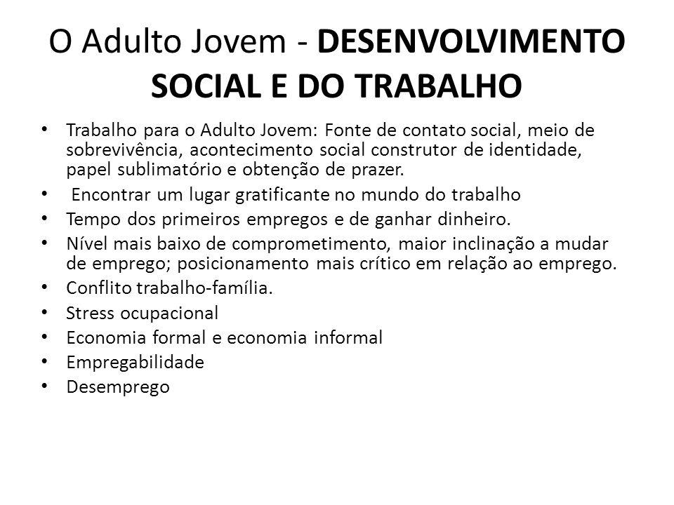O Adulto Jovem - DESENVOLVIMENTO SOCIAL E DO TRABALHO Trabalho para o Adulto Jovem: Fonte de contato social, meio de sobrevivência, acontecimento soci