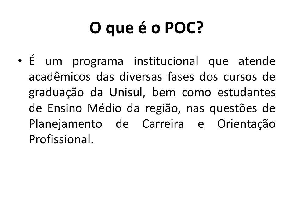 O que é o POC? É um programa institucional que atende acadêmicos das diversas fases dos cursos de graduação da Unisul, bem como estudantes de Ensino M