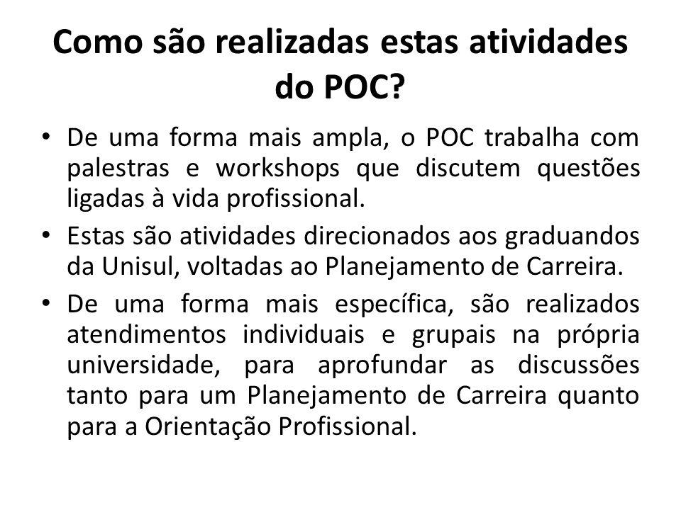 Como são realizadas estas atividades do POC? De uma forma mais ampla, o POC trabalha com palestras e workshops que discutem questões ligadas à vida pr