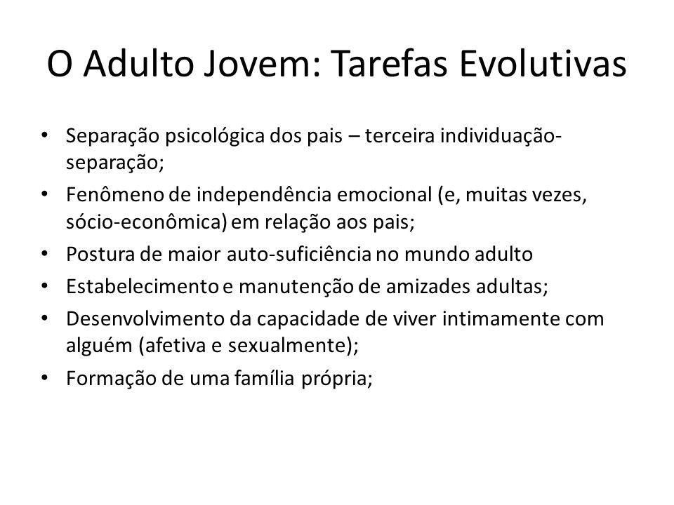 O Adulto Jovem: Tarefas Evolutivas Separação psicológica dos pais – terceira individuação- separação; Fenômeno de independência emocional (e, muitas v