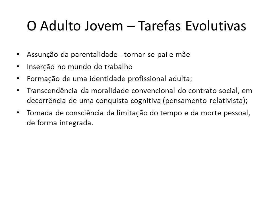 O Adulto Jovem – Tarefas Evolutivas Assunção da parentalidade - tornar-se pai e mãe Inserção no mundo do trabalho Formação de uma identidade profissio