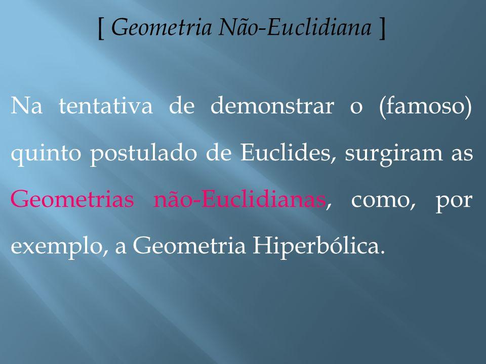 [ Geometria Euclidiana ] A Geometria de Euclides foi a primeira teoria matemática a ser axiomatizada. Ela é chamada de Geometria Euclidiana, e descrev